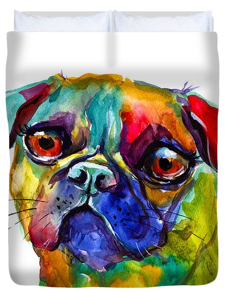 Colorful Pug Dog Painting  Duvet Cover by Svetlana Novikova