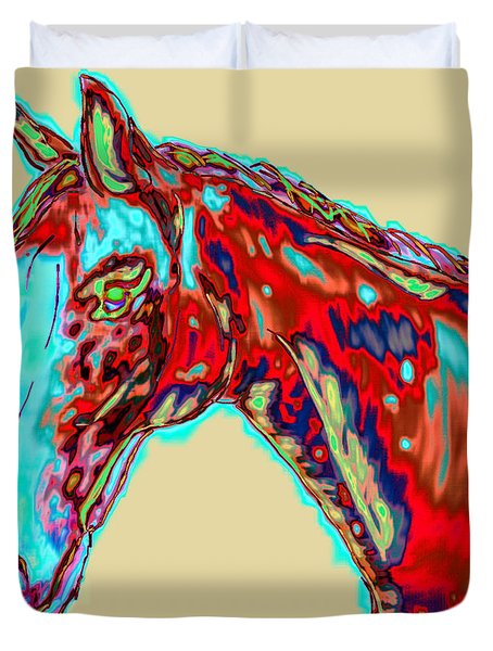 Colorful Race Horse Duvet Cover by Mark Moore