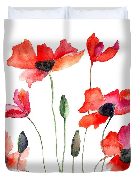 Colorful Red Flowers Duvet Cover