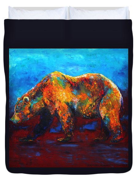 Colorful Reflections Bear Painting Duvet Cover
