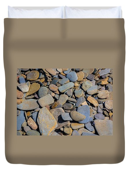 Colorful River Rocks Duvet Cover by Photographic Arts And Design Studio