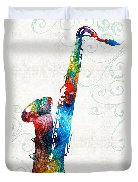 Colorful Saxophone 3 By Sharon Cummings Duvet Cover