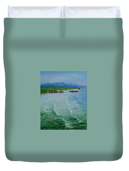 Colorful Seascape Oregon Cannon Beach Ecola Landscape Art Painting Duvet Cover