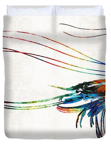 Colorful Shrimp Art By Sharon Cummings Duvet Cover