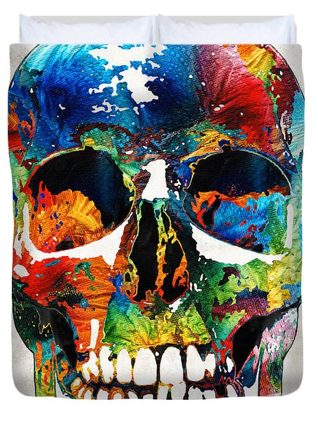 Colorful Skull Art - Aye Candy - By Sharon Cummings Duvet Cover