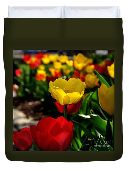 Colorful Spring Tulips Duvet Cover by Nava Thompson