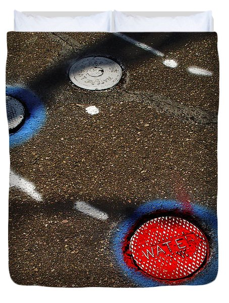 Colorful Storm Drain Covers And White Duvet Cover