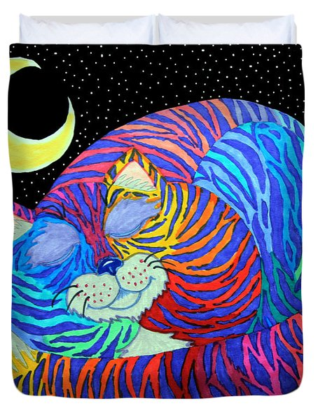 Colorful Striped Cat In The Moonlight Duvet Cover