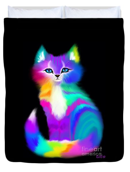 Colorful Striped Rainbow Cat Duvet Cover