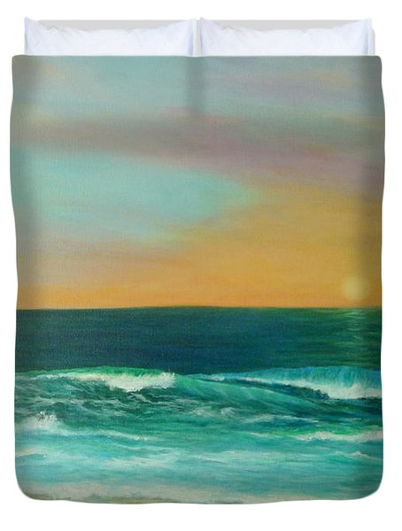Colorful Sunset Beach Paintings Duvet Cover by Amber Palomares