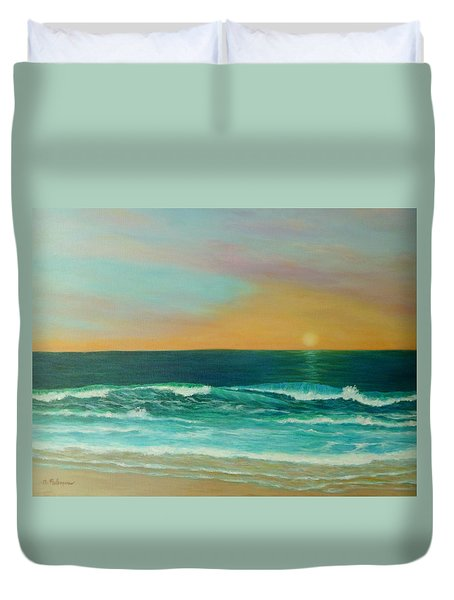Colorful Sunset Beach Paintings Duvet Cover