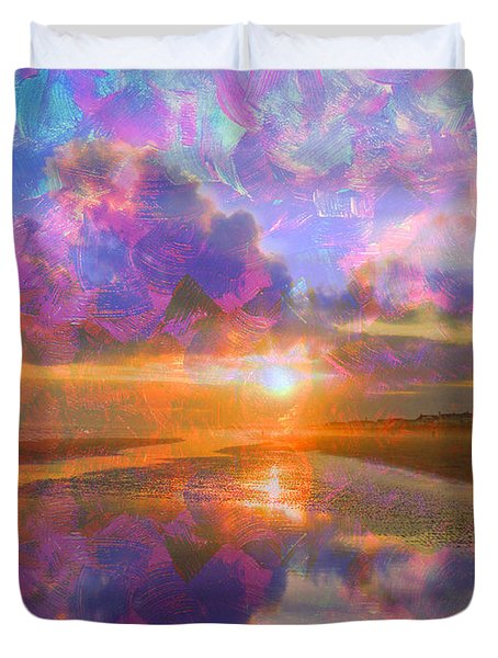 Colorful Sunset By Jan Marvin Duvet Cover