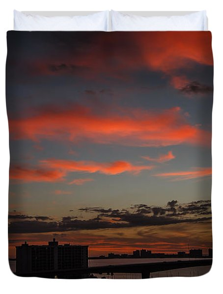 Duvet Cover featuring the photograph Colorful Sunset by Jane Luxton