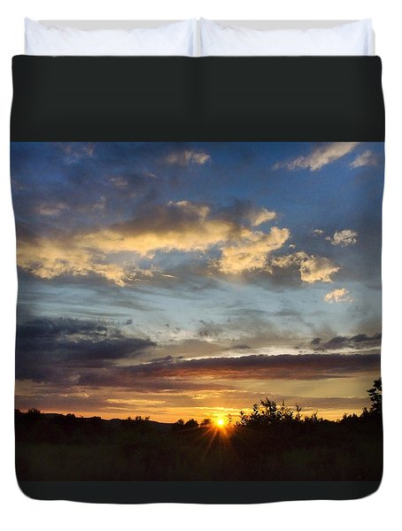 Colorful Sunset Landscape Duvet Cover by Christina Rollo
