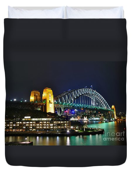 Colorful Sydney Harbour Bridge By Night Duvet Cover