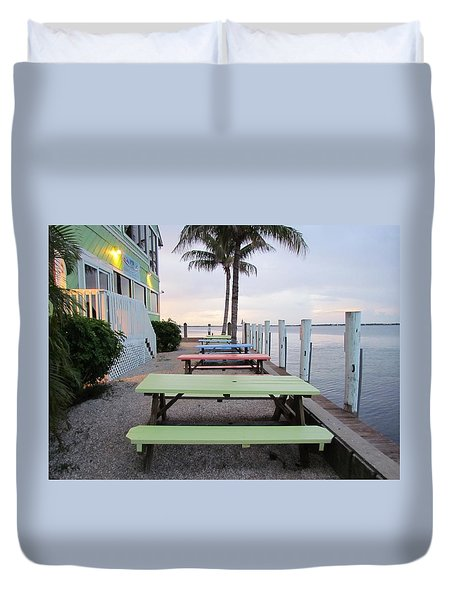 Duvet Cover featuring the photograph Colorful Tables by Cynthia Guinn