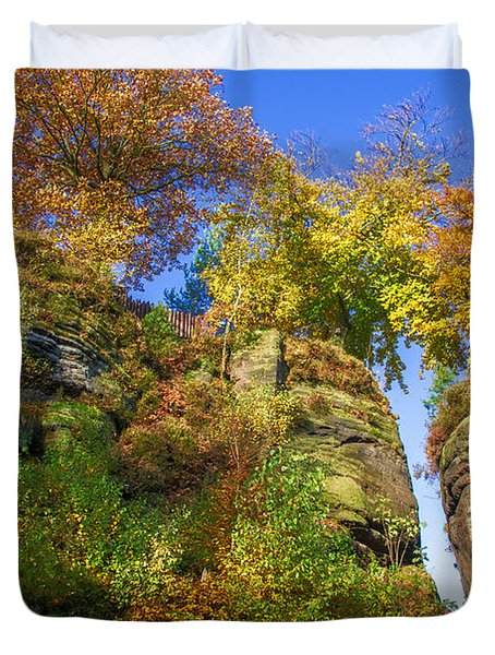 Colorful Trees In The Elbe Sandstone Mountains Duvet Cover