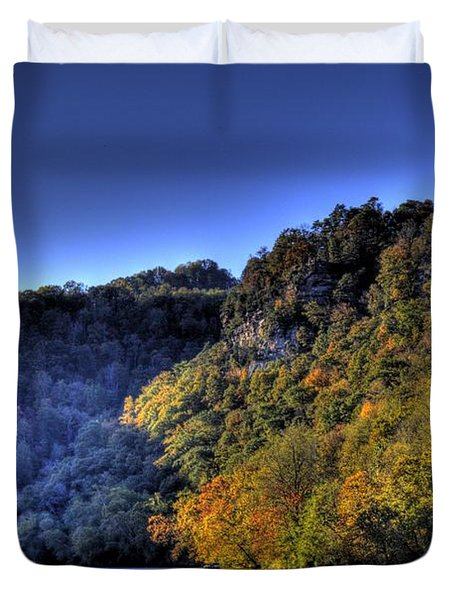 Duvet Cover featuring the photograph Colorful Trees Over A Lake by Jonny D