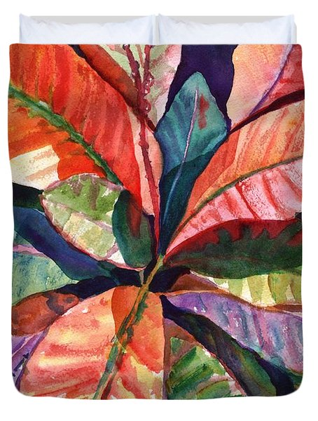 Colorful Tropical Leaves 1 Duvet Cover by Marionette Taboniar