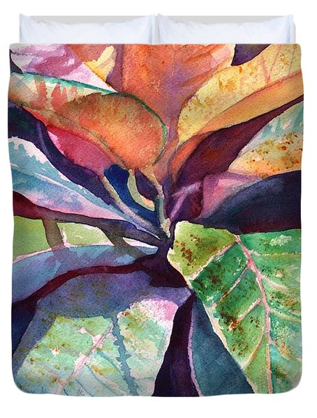 Colorful Tropical Leaves 3 Duvet Cover