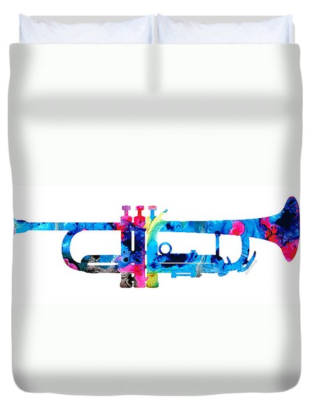 Colorful Trumpet 2 Art By Sharon Cummings Duvet Cover by Sharon Cummings