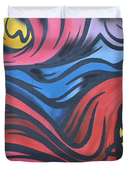 Duvet Cover featuring the photograph Colorful Urban Street Art From Singapore by Imran Ahmed