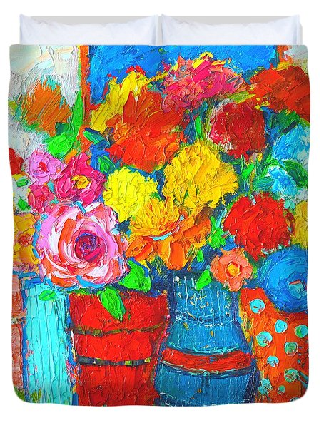 Colorful Vases And Flowers - Abstract Expressionist Painting Duvet Cover