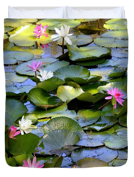 Colorful Water Lily Pond Duvet Cover