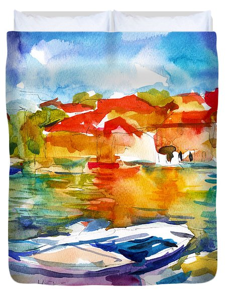 Colorful Watercolor Boats European Water Scape Duvet Cover