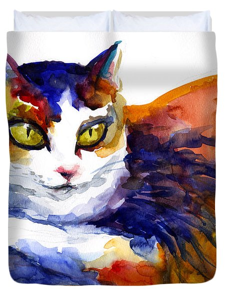 Colorful Watercolor Cat On A Tree Painting Duvet Cover by Svetlana Novikova