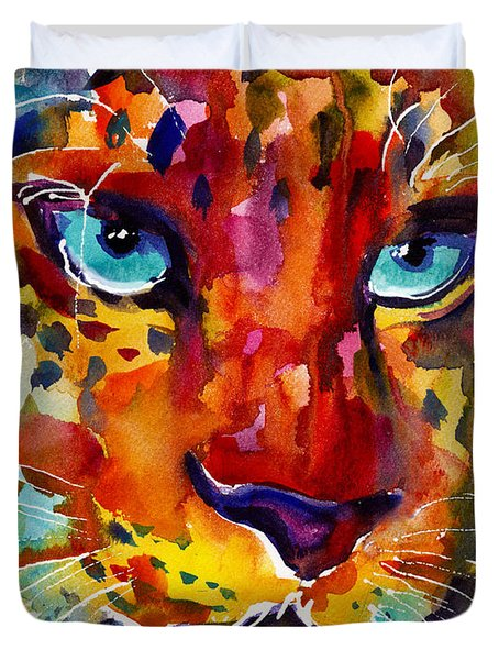 Colorful Watercolor Leopard Painting Duvet Cover