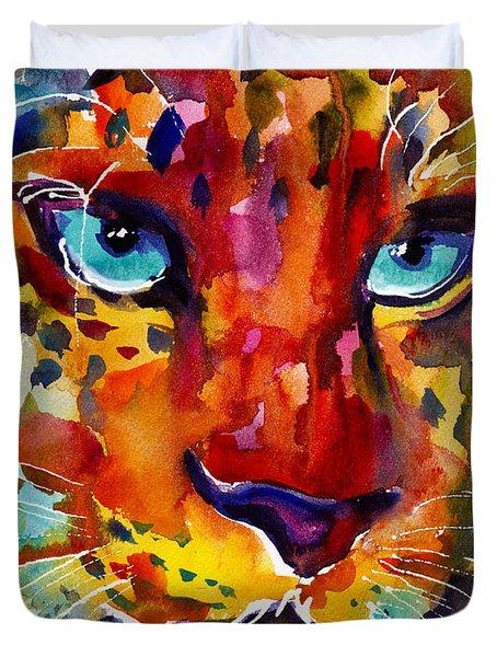Colorful Watercolor Leopard Painting Duvet Cover by Svetlana Novikova