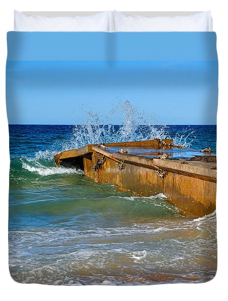 Colorful Waves Around Old Pier Duvet Cover by Kaye Menner