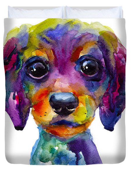 Colorful Whimsical Daschund Dog Puppy Art Duvet Cover