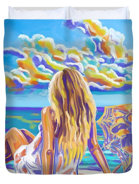 Colorful Woman At The Beach Duvet Cover by Tim Gilliland