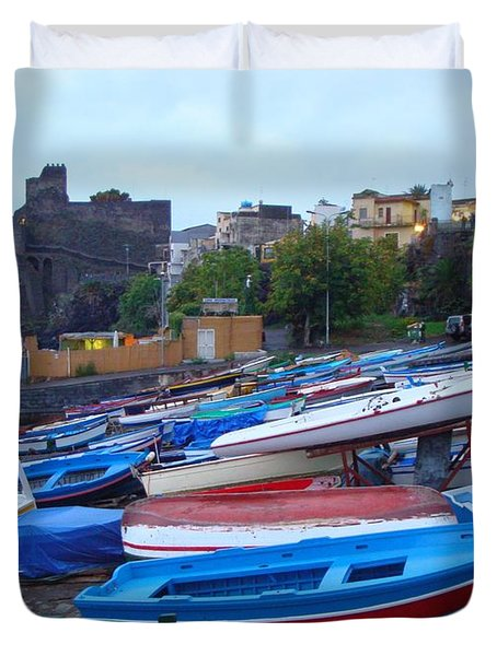 Colorful Wooden Fishing Boats Of Aci Castello Sicily With 11th Century Norman Castle Duvet Cover by Jeff at JSJ Photography