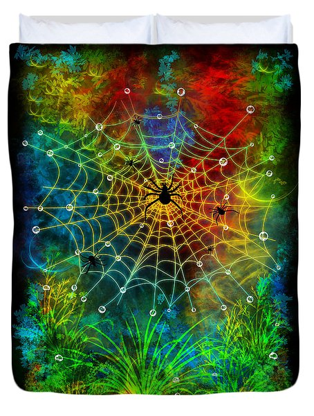 Colorful World Of Spiders Duvet Cover