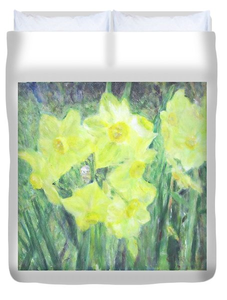 Colorful  Yellow Flowers Duvet Cover
