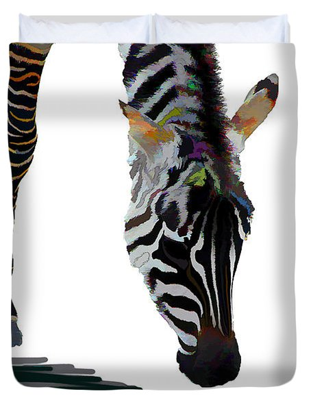 Duvet Cover featuring the digital art Colorful Zebra 2 by Teresa Zieba