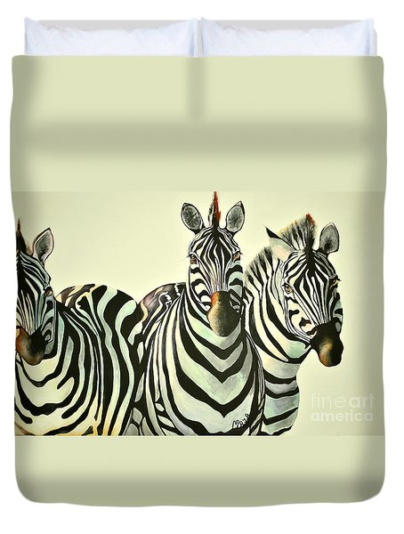 Colorful Zebras Painting Duvet Cover