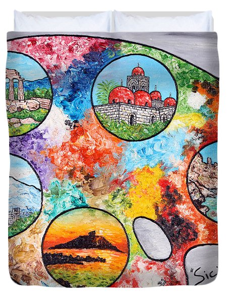 Colori Di Sicilia Duvet Cover by Loredana Messina