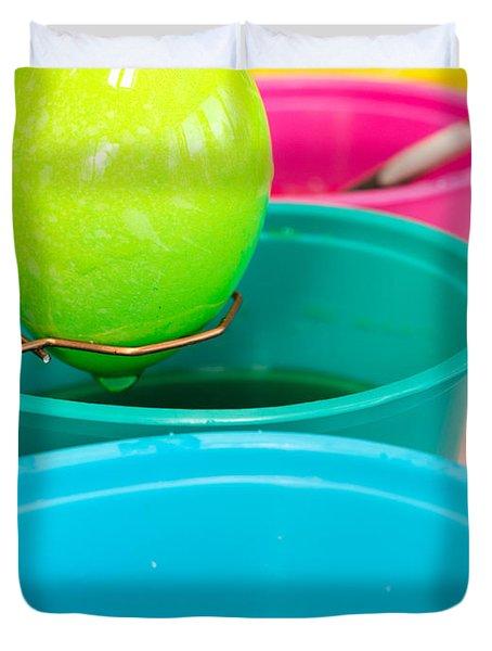 Coloring Easter Eggs Duvet Cover