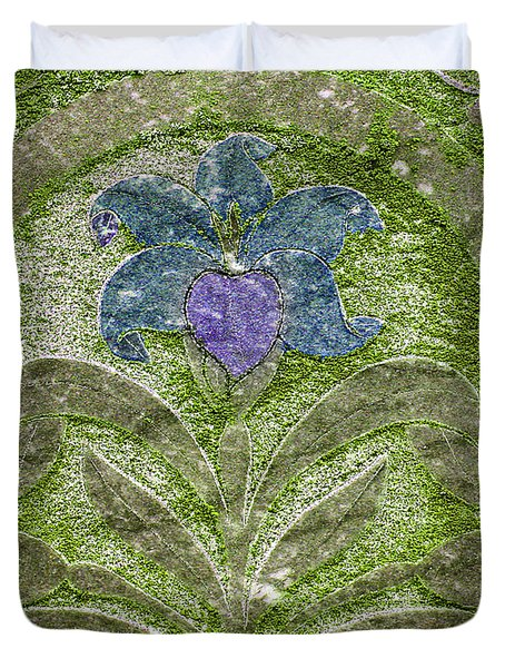 Colorized Moss Covered Gravestone  Duvet Cover by Jean Noren