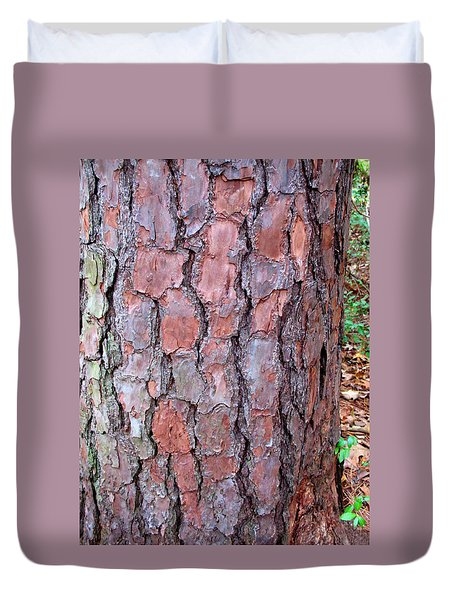 Duvet Cover featuring the photograph Colors And Patterns Of Pine Bark by Connie Fox