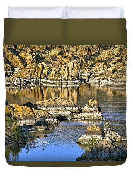 Colors In The Rocks At Watsons Lake Arizona Duvet Cover