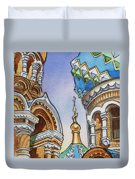 Colors Of Russia St Petersburg Cathedral II Duvet Cover by Irina Sztukowski