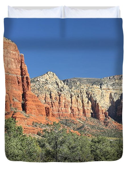 Duvet Cover featuring the photograph Colors Of Sedona by Penny Meyers