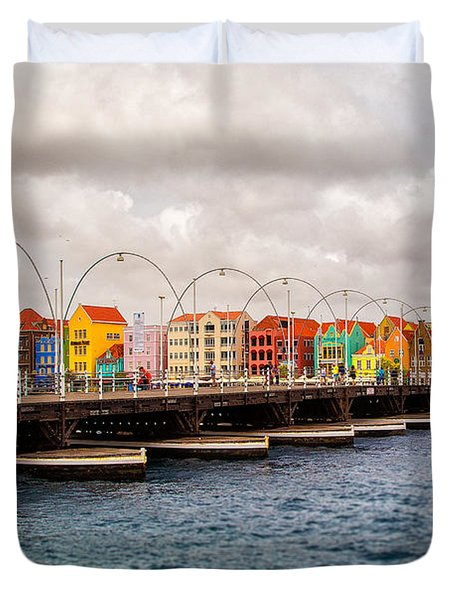 Colors Of Willemstad Curacao And The Foot Bridge To The City Duvet Cover