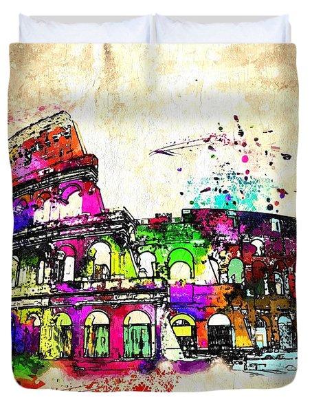 Colosseo Grunge  Duvet Cover by Daniel Janda