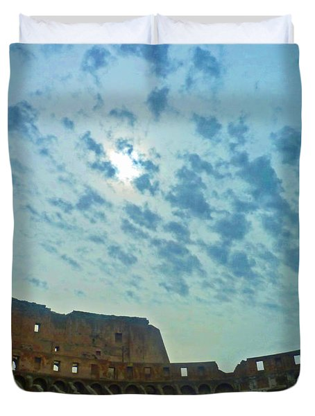 Duvet Cover featuring the photograph Colosseum At Dusk - Rome by Cheryl Del Toro